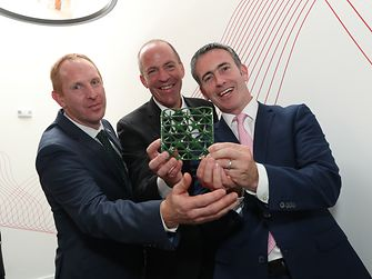 From left to right: Michael Lohan, IDA; Michael Todd, Henkel; Damien English, Government Minster
