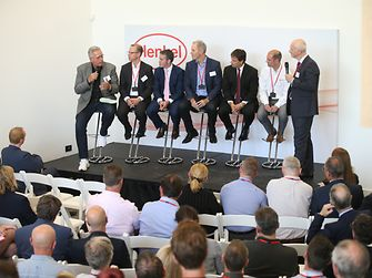From left to right: Joe DiSimone of Carbon; Kersten Heuser of Siemens; Government Minister Damien English; Stephen Nigro of HP; Jerry Perkins of Henkel; Chay Allen of Renishaw; and host Ged McGurk of Henkel