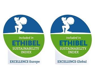 "Logos ""Ethibel Excellence Europe"" and ""Ethibel Excellence Global"" sustainability indices"