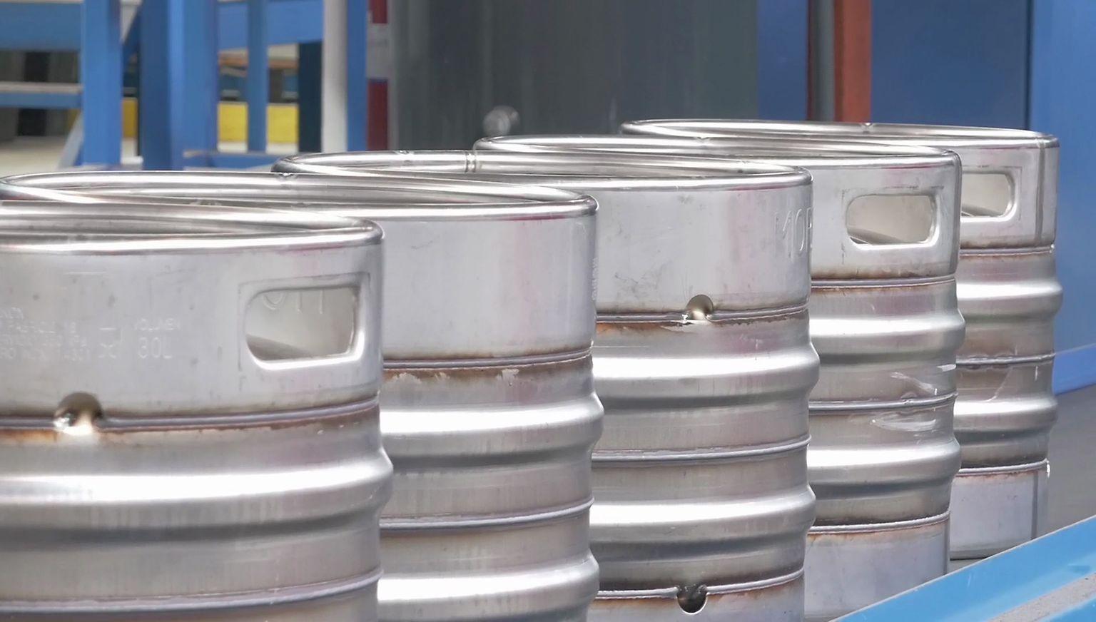 Stainless steel kegs before pickling
