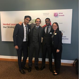 Nishant Kondamudi (3rd from left) with his winning teammates at Henkel's 2017 Case Competition.