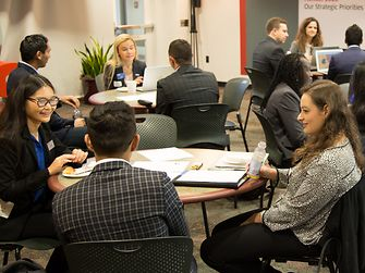 Students from business schools across the Northeast form teams to brainstorm creative solutions to Henkel's fall 2018 case study competition.