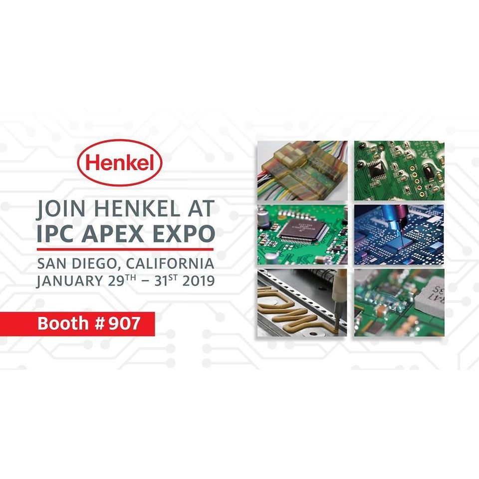 At this year's IPC APEX Expo, taking place January 29 – 31 in San Diego, CA, Henkel Corporation will debut several new materials featured as part of six different display and demo areas within booth #907