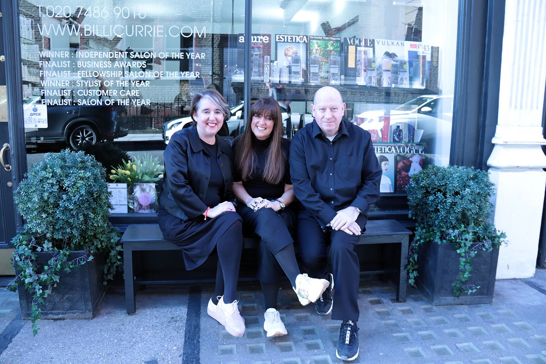 Debbie G, Lesley Jennison and Billie Currie outside the prestigious salon in Marylebone, London
