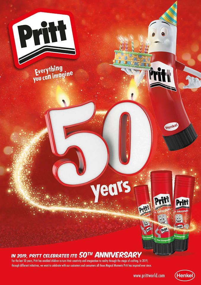 An iconic brand celebrates anniversary – the Pritt stick turns 50.