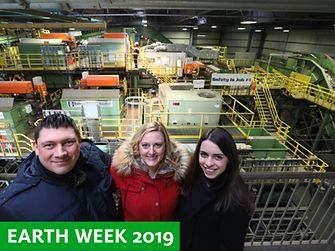 Henkel Beauty Care employees had the opportunity to watch the material recovery process from a bird's-eye view at the Sims Municipal Recycling facility in Brooklyn, NY.