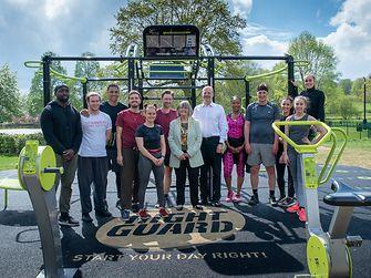 A group of people posing in Hemel Hempstead's Right Guard AEROCYCLE gym in Gadebridge Park