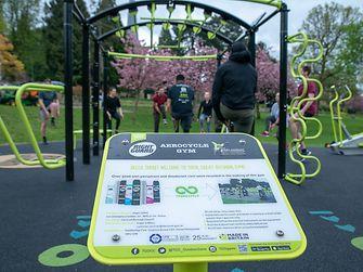 Infopanel in Hemel Hempstead's Right Guard AEROCYCLE gym in Gadebridge Park