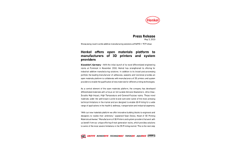 2019-05-07-Henkel offers open materials platform to manufacturers of 3D printers and system providers.pdf.pdfPreviewImage