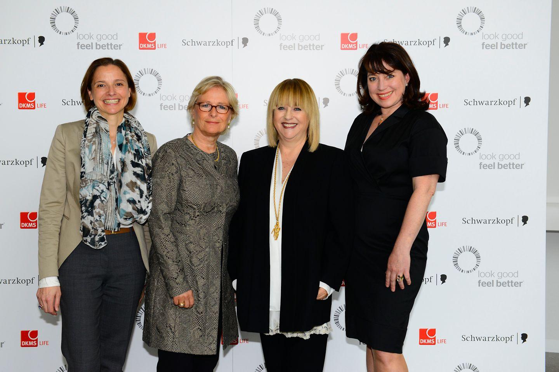 Annamaria Englebert (Henkel), Marina Ruperti (Moderatorin), Patricia Riekel (Chefredakteurin BUNTE), Ruth Neri (DKMS LIFE)