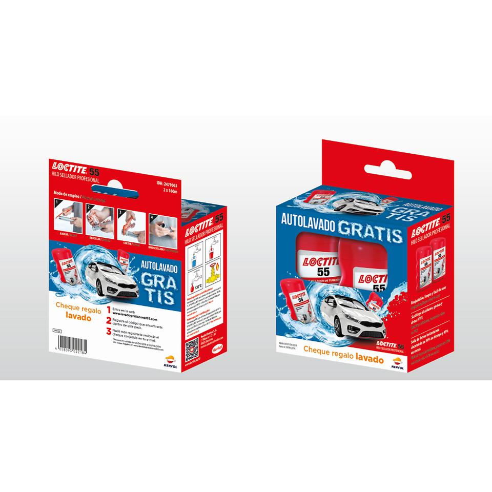 LOCTITE 55 ha lanzado al mercado un nuevo pack promocional del hilo sellador. Con la compra de este, el consumidor recibirá un cheque regalo para un autolavado gratis.