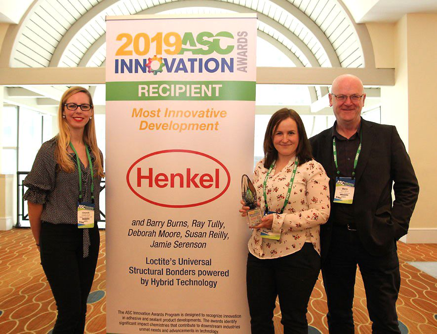 Accepting the award on behalf of Henkel are (l to r) Amanda Scott, Debbie Moore and Barry Burns. Other team members not pictured include: Ray Tully, Susan Reilly and Jamie Serenson.
