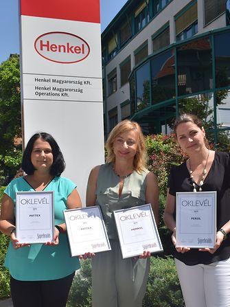 Henkel csapat: Szalay Andrea Brand Manager, dr. Fábuán Ágnes ügyvezető igazgató és  Dispiter Dorottya Vállalati kommunikáció (balról)
