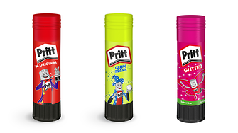 "To the delight of children all over the world there are Pritt special editions such as the glitter glue stick and the ""Glow in the Dark"" stick."