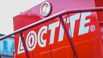 Loctite logo on the front of a locomotive