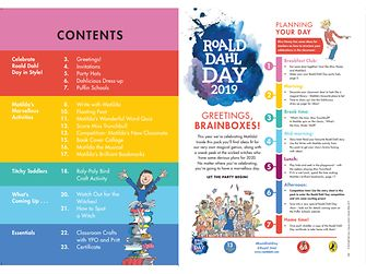 Roald Dahl Day 2019 Party Pack table of contents and day plan