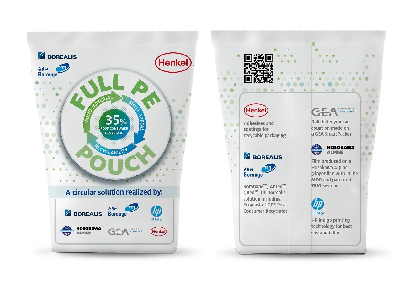 Borealis and Henkel are working on a pilot for a full PE laminate stand-up pouch that contains both virgin and recycled ingredients with 35 percent post-consumer recycled low density polyethylene (r-LDPE)