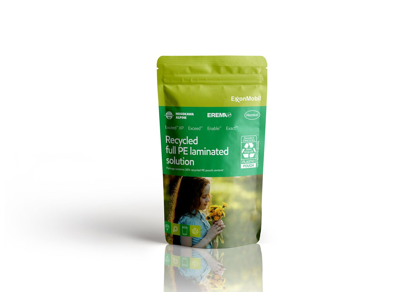 Partnering with raw-material supplier ExxonMobil, Henkel has developed a full PE laminated stand-up pouches (SUP)