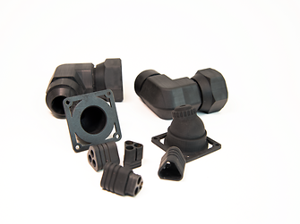 Fire-, smoke- and toxicity-resistant demo applications of Henkel`s novel photopolymer 3D printed on the Origin One printer: electrical bullet connectors ad L pipe connectors.