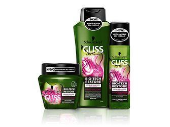 Gliss Bio-Tech Restore Champú, Acondicionador Express, Crema nutritiva 2 en 1
